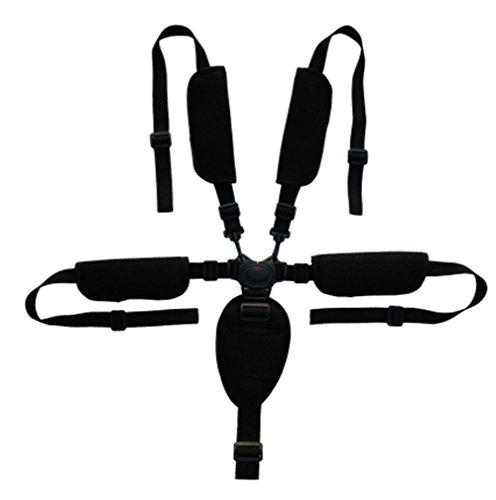 WGE Cintura di Sicurezza A 5 Punti Cintura di Ricambio Regolabile Universale Imbracatura per Seggioloni, Passeggino, Passeggino, Seggiolino per Auto Elettrica E Bicicletta,Black,B