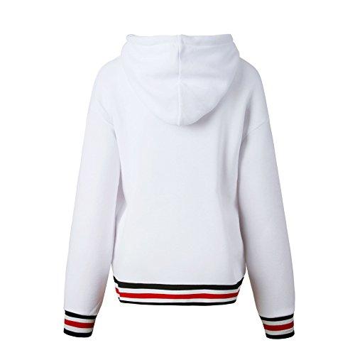 Favoridol Femme Hiver Automne Tops à Manches Longues Rayé Encapuchonné Sweat-shirt Sweats à Capuche Chemisiers Blanc