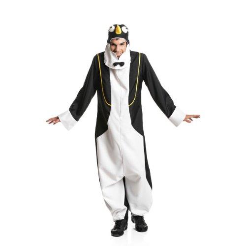 Kostümplanet® Pinguin-Kostüm Herren Overall mit Pinguin-Mütze Größe 48/50