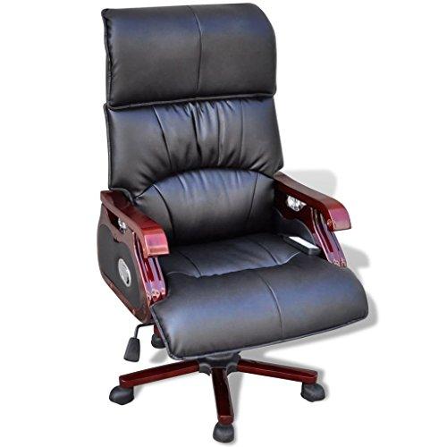 Leder-stahl-liege (vidaXL Leder Chefsessel Drehstuhl Bürosessel Büro Lehnstuhl Armsessel Massage)