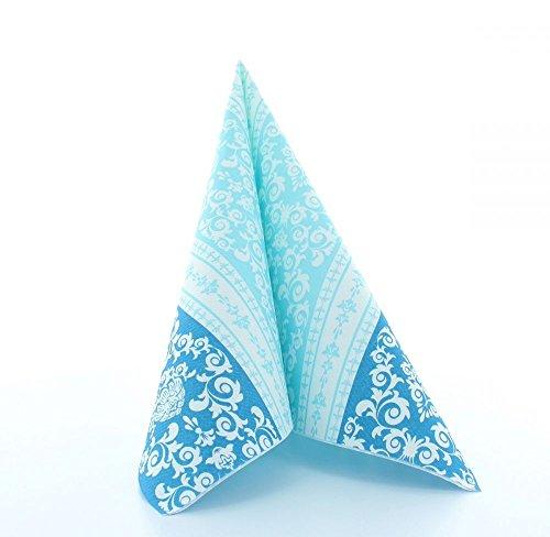 Mank Airlaid-Servietten Pascal 40x40 cm | Premium Einweg-Serviette | textilähnlich und saugstark | perfekt für Hochzeit & Partys | 50 Stück (Aqua Blau)