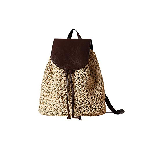 Bolso de Mujer Boho Crochet de la Vendimia Bolso Trenzado de Paja Cubierta de Cuero Simple Mochila Bolsa de Viaje de la Escuela de Vacaciones Moda