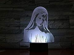 Idea Regalo - 3D Vergine Maria Luce Notturna 16 Colori Mutevoli Usb Potere Toccare Cambiare Illusione Ottica Lampada Per Home Decor Led Lampada Da Tavolo Bambini Compleanno Natale Regalo