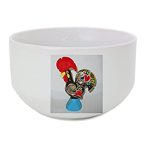 Ceramic bowl with A multi color craft in a cock shape