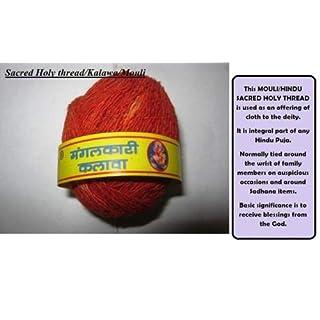 Artcollectibles India 1spool, Moli Mauli Roli India Holy Red Thread Hindu Rituals Puja Prayer Diwali