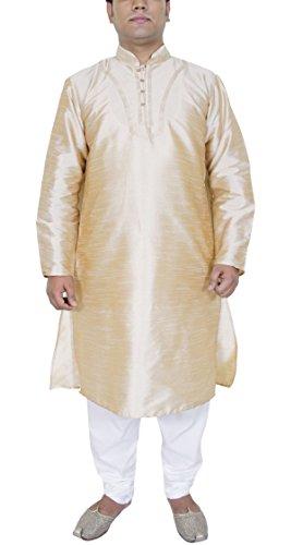 Mens Dress Clothing Kurta Pajama Wedding Ethnic Wear For Men Beige Size L