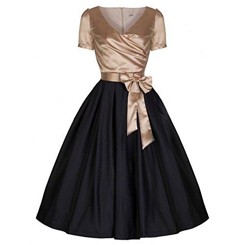 Gina Langes Kleid mit Schleife gold / schwarz - Vintage, 50er Jahre, Rockabilly, retro - XS / NL34 - Lindy Bop (Lindy Bop Vintage Kleider Schwarz)