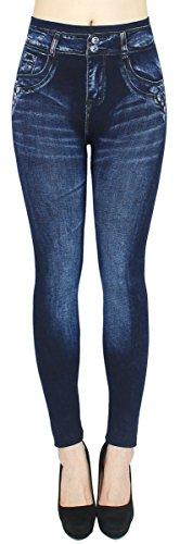 dy_mode Leggings Damen High Waist Stone Washed Optik Jeggings - OneSize Gr.36-42 - JL093 (JL229-Buttons)