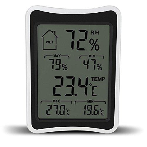 Startseite Hygrometer & Thermometer, Elektronisches MAX-MIN Doppel-Display Touchscreen Digital Hygrothermograph, Nass-Trocken-Komfort Wetterüberwachung Test-Tool für Indoor-Haus Wohnzimmer Verwendung
