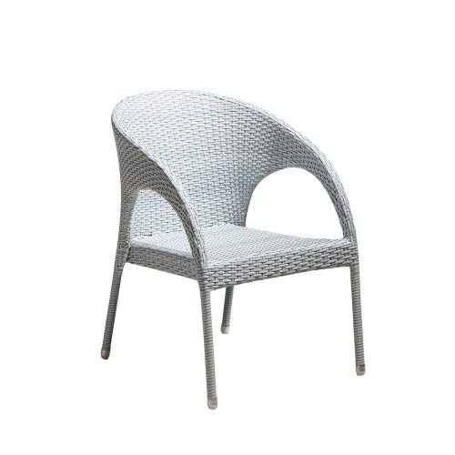 Interouge - Weißer Gartensessel Gartenstuhl aus geflochtenem Harz und Aluminium Struktur -