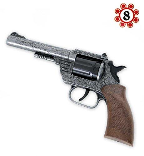 Revolver Dakota, Metall (8er-Ring Munition), Kinderspielzeug, Spielzeugrevolver, Kostümzubehör, Rollenspiel, ca. 20 cm, Cowboy, Wilder Westen, Räuber und Gendarm (Dakota Kostüme)