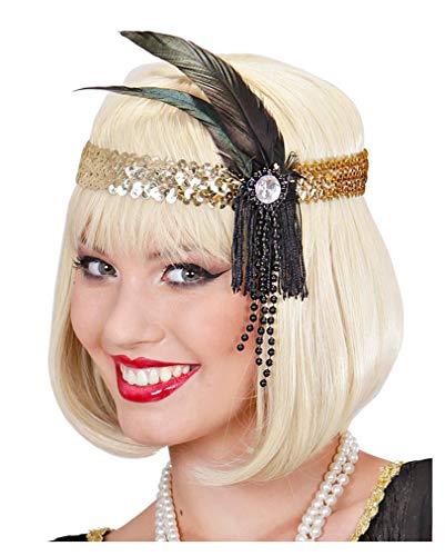 Horror-Shop Flapper Stirnband Gold mit schwarzer ()