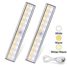 LITTHING 2pcs Lampe Automatique de Placard Veilleuse 20LED de Armoir sans Fil Rechargeable par USB Lampe Attache Magnétique Portable Détecteur Mouvement Lumière pour Cuisine Escalier Chambre Titoir