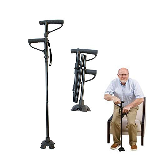 SMILE Professional Old Man Walking Stick Folding Double Handle Four Feet With Light (Black)