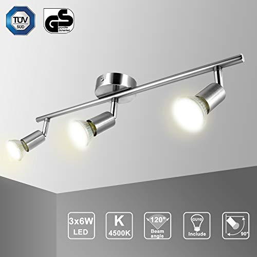 Ketom Lámpara de techo para LED con 3 Focos Adjustable - Lámpara de pared Plafón giratorio con 3...