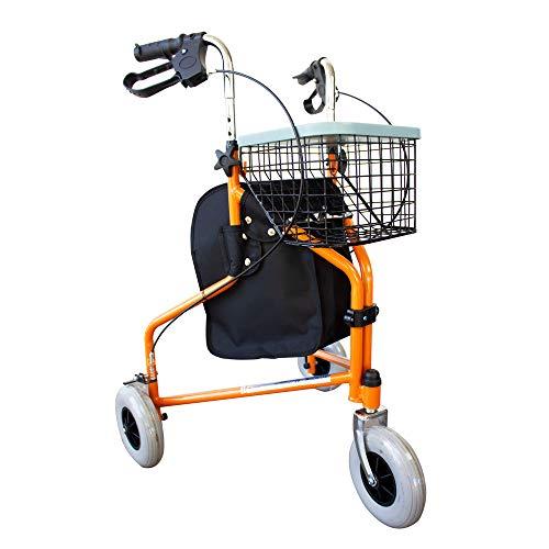 Andador para ancianos   Plegable   Freno en manetas   3 ruedas   Cesta   Naranja   Caleta   Mobiclinic