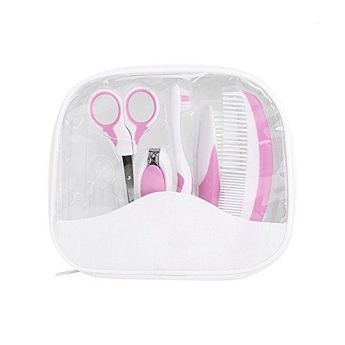 Babypflege Set – IntiPal 7-teiliges Set für Baby Alltag Pflege mit Etui BPA Frei (Rosa)