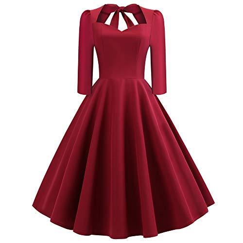 ‿ JUSTSELL 1950er 50er Vintage Retro Kleider, Damen Frauen Einfarbig Kleider 3/4 Lange Ärmel...