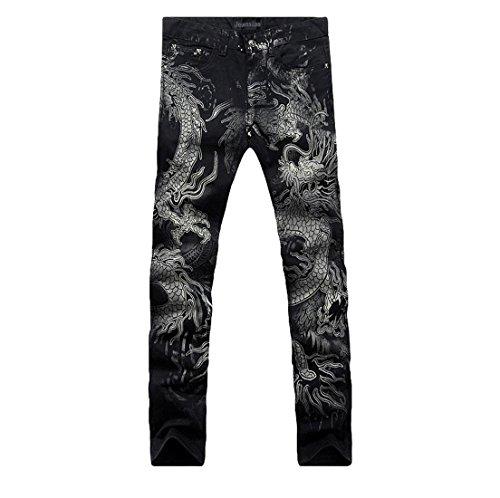 Jeansian Moda Pantaloni Casual Uomo Stampato Jeans Denim Sottile Uomini MJB004 Black W36