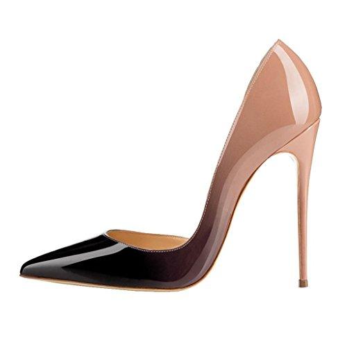 EDEFS Damen Pumps Spitze Zehe High Heels d'Orsay Übergröße Sommer Frühjahr Schuhe Beige