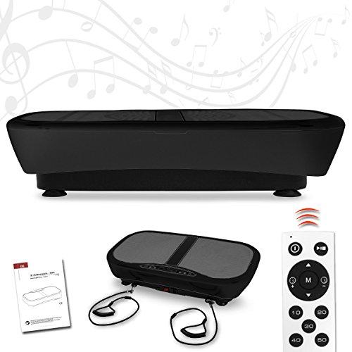 Letix Sports Profi Vibrationsplatte mit 3D Wipp-Vibration + Bluetooth Musik inkl. Lautsprecher, große Standfläche, 2 Kraftvolle Motoren + Trainingsbänder und Fernbedienung (schwarz)