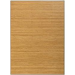 Lola Home Alfombra de salón o Comedor Oriental marrón de bambú de 180 x 250 cm Sol Naciente