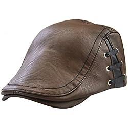 Tinksky Casquillo plano de los hombres Casquillo de cuero de la PU de la vendimia Casquillo plano del golf que conduce el sombrero de caza Regalo de la Navidad (café ligero)