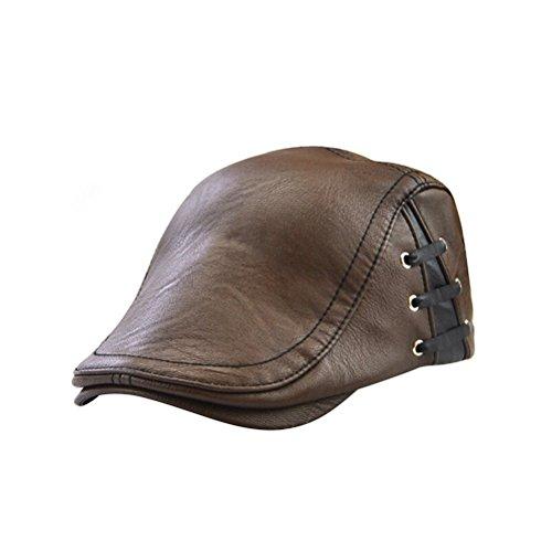 Tinksky Herren flache Kappe, PU Leder Zeitungsjunge Cap Flache Golf Driving Jagd Hut (leichter Kaffee) Leder Driving Caps Für Männer