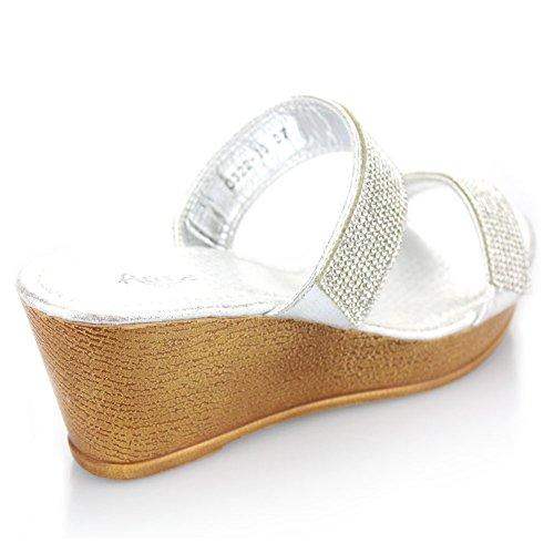 Femmes Dames Double Sangle Diamante Glisser sur Talon compensé Soir Décontractée Fête Bal de promo Mariage Des sandales Chaussures Taille Argent