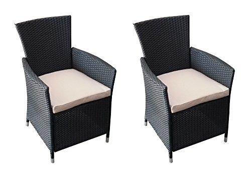2er Set Polyrattan Rattan Stühle Stuhl Gartenstuhl Sessel Garten schwarz