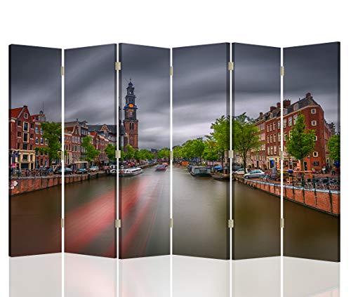 Feeby Pared Española Amsterdam 6 Paneles Bilateral Río Paisaje Multi