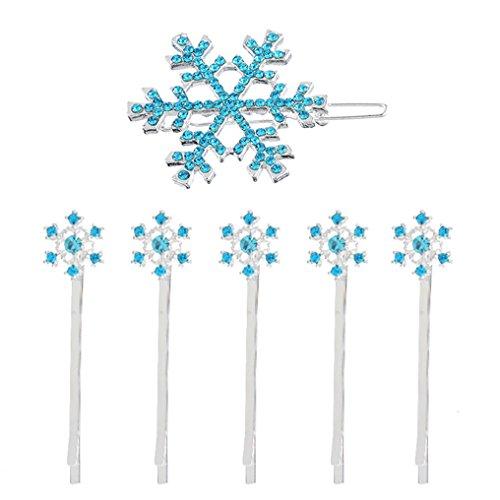 MJARTORIA Aquamarin CZ Kristall Haarnadel Schneeflocke Haarklammer Clips Haarclips Set (Blau)