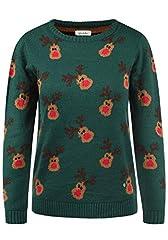 Idea Regalo - BlendShe Christel Maglione Pullover in Maglia Maglieria di Natale da Donna con Girocollo, Taglia:S, Colore:Botanical Garden (20342)