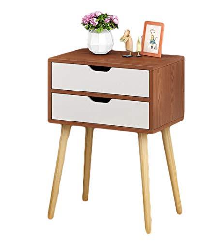 Kitrack comodino con 2 cassetti camera da stare mobili in rovere moderno legno,brown