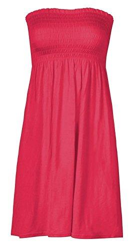 Mix lot de nouveaux tonte boobtube bandeau sans bretelles de femmes / haut sans manches dames lisses sexy robe de plage d'été haut petit moyen, plus la taille des vêtements décontractés taille 36-50 rose chaud