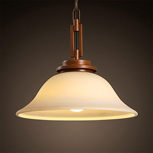 BBSLT American retrò lampadario sala da pranzo il ristorante bar arte rotondo semplice paralume in vetro testa singola lampada 430*340mm , bianco caldo
