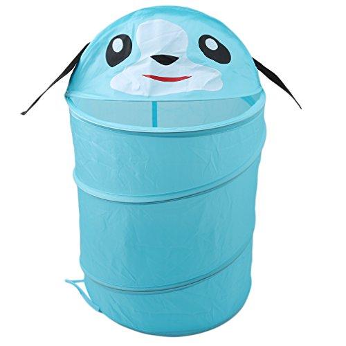 ODN Multifunktionale Faltbare Wäschekörbe Baumwolle Leinen Wäschebox Wäschesammler Kinder Spielzeug Aufbewahrungskorb Aufbewahrungsbox mit Deckel (Hund) -