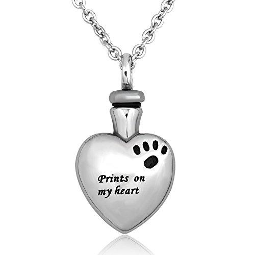 Uniqueen colgante con función de urna de cremación para guardar las cenizas de un perro, recuerdo de mascota, con texto «Print on My Heart», diseño de huella y collar de acero inoxidable