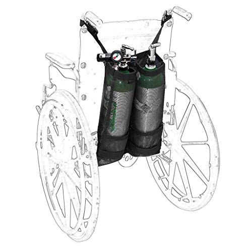 Sauerstoff Rollstuhl (Rollstuhl-Sauerstoff-Tankrucksack, tragbarer Walker Carrier-Rucksackständertasche für D und E Sauerstofftank, für medizinisches Krankenhaus,Double)