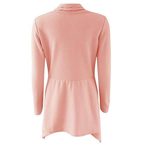Donne Knit Cardigan Maglione Superiore - Le signore Aperto Davanti Cappotto Lungo Manica Outwear Sweater Warm Winter Jumper Coat Highdas Rosa