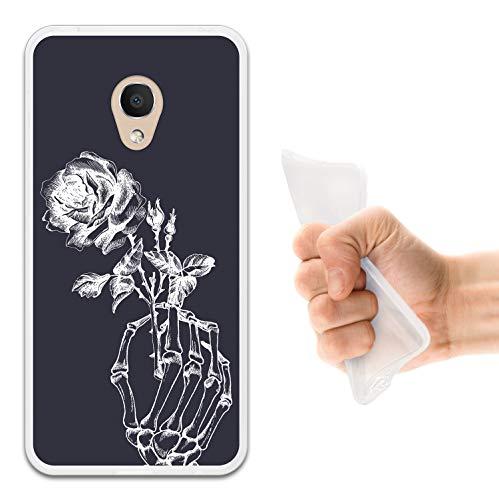 WoowCase Alcatel 1C DUAL SIM Hülle, Handyhülle Silikon für [ Alcatel 1C DUAL SIM ] Skeletthand & Rose Handytasche Handy Cover Case Schutzhülle Flexible TPU - Transparent