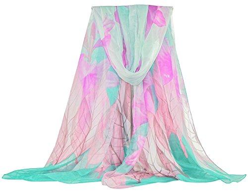 DAMILY Pareo Strandkleider Blatt und Lilie Damen Sommerkleider Sarong (Türkis) (Bikini-bandana)