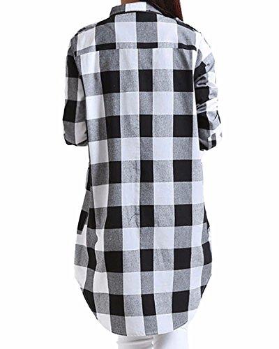 StyleDome Damen Kariert Plaid Button Langarm Hemd Casual Longshirt Tunika Top Schwarz