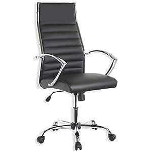 Fauteuil chaise siège bureau cuir synthétique noir accoudoirs BOSS