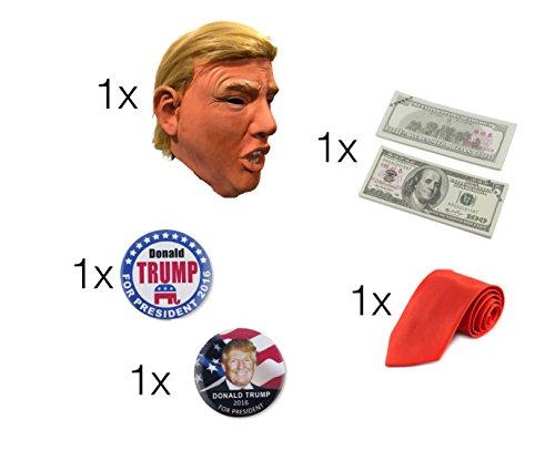 Megaset Donald Trump Politiker USA Präsident - 1x Maske, Kostüm / Perücke aus Latex mit Haare / Frisur, 1x rote Krawatte, 1x Dollar Scheine / Bündel, 2x Anstecker, Anstecknadel, Pin (Hillary Kostüm Clinton)