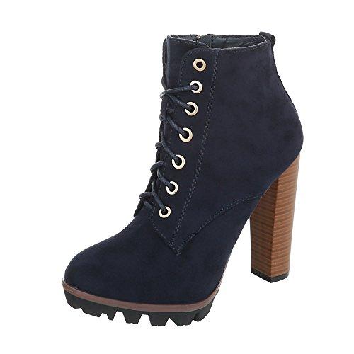 Ital-Design High Heel Stiefeletten Damen-Schuhe High Heel Stiefeletten Pfennig-/Stilettoabsatz High Heels Reißverschluss Stiefeletten Dunkelblau, Gr 39, 118-1-1-