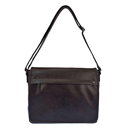 U.S.POLO ASSN. Borsa grande a tracolla con tasca zip frontale 36x10x28 cm Marrone scuro