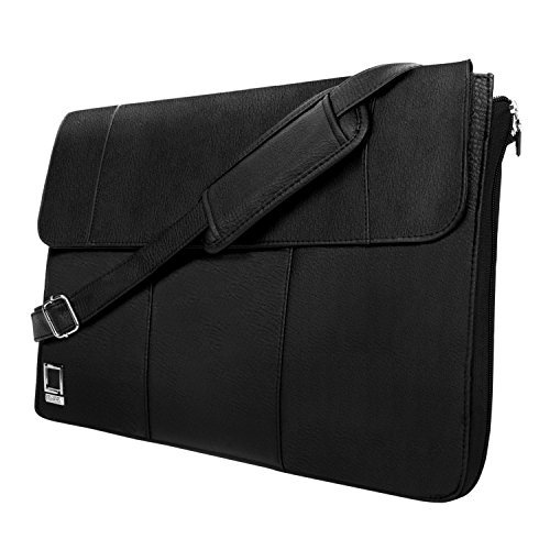 Schwarz Crossbody Messenger Bag orgainizer für Acer Aspire/Spin/Chromebook/Swift/CloudBook 33,8 cm 35,6 cm 39,6 cm schwarz schwarz 33 cm (13 Zoll) (Pocket Front Leder Satchel)