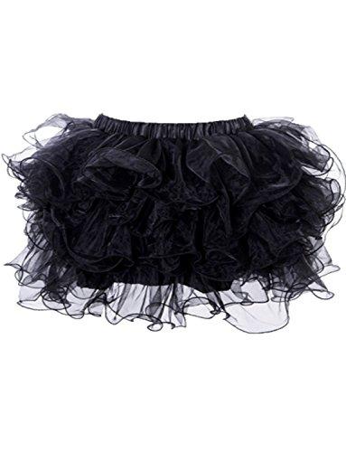 Yummy Bee - Jupe Tutu Froufrous Ra Ra Burlesque Tulle Déguisement Femme Adulte- Grande Taille 34 - 52 (Noir, 44/46)