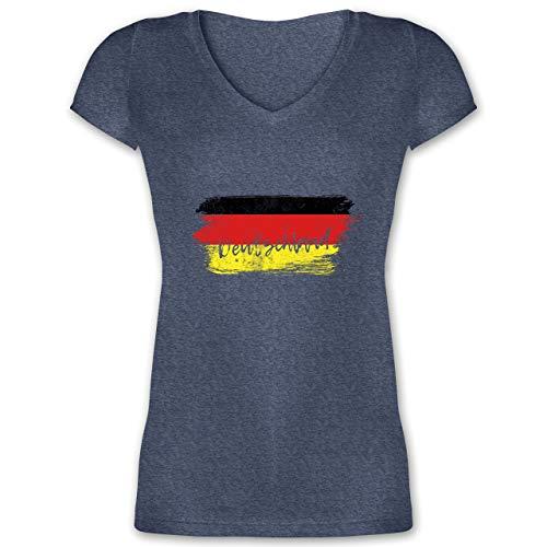 Handball WM 2019 - Deutschland Vintage - M - Dunkelblau meliert - XO1525 - Damen T-Shirt mit V-Ausschnitt